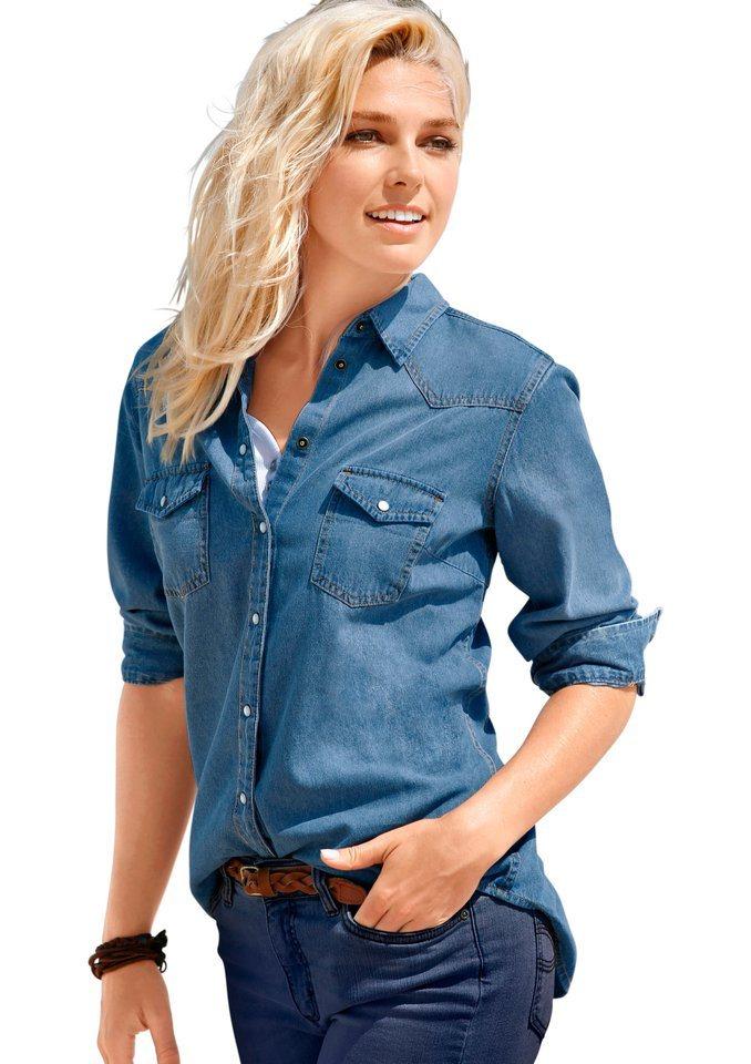 Classic Inspirationen Jeansbluse mit Hemdkragen in blue-bleached