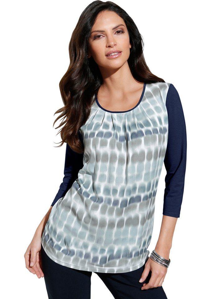 Classic Inspirationen Blusenshirt mit 3/4-Ärmel in blau-mint-gemustert