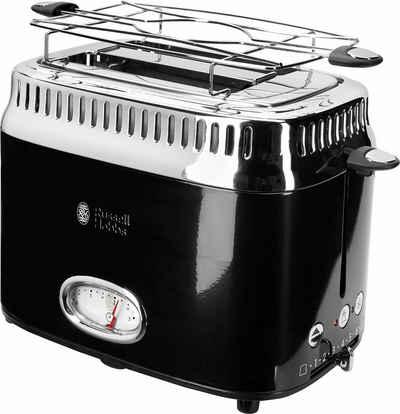 RUSSELL HOBBS Toaster 21681-56, 2 kurze Schlitze, 1300 W, Retro Classic Noir