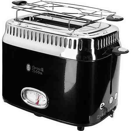 Russell Hobbs Kompakt Toaster Retro Classic Noir 21681-56, 1300 Watt, für 2 Scheiben