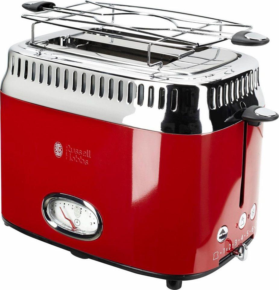 Russell Hobbs Kompakt Toaster Retro Ribbon Red 21680-56, 1300 Watt, für 2 Scheiben in rot/Edelstahl