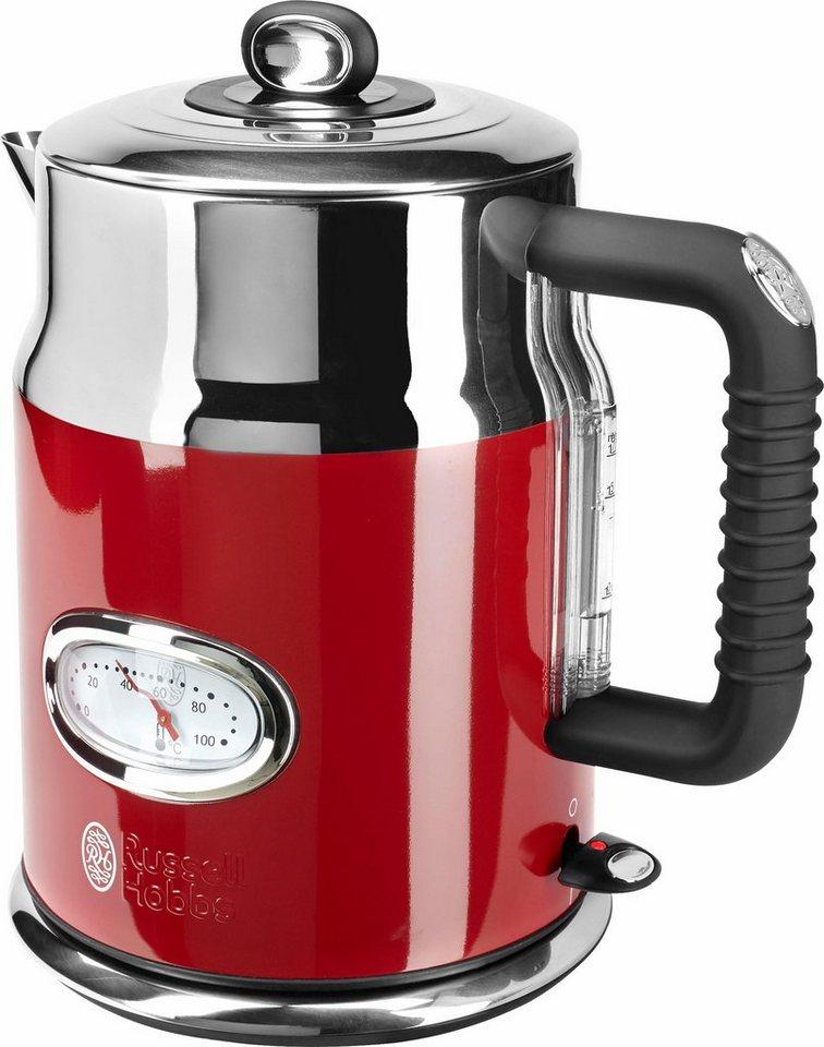 Russell Hobbs Wasserkocher Retro 21670-70, 2400 Watt, Ribbon Red in rot / edelstahl