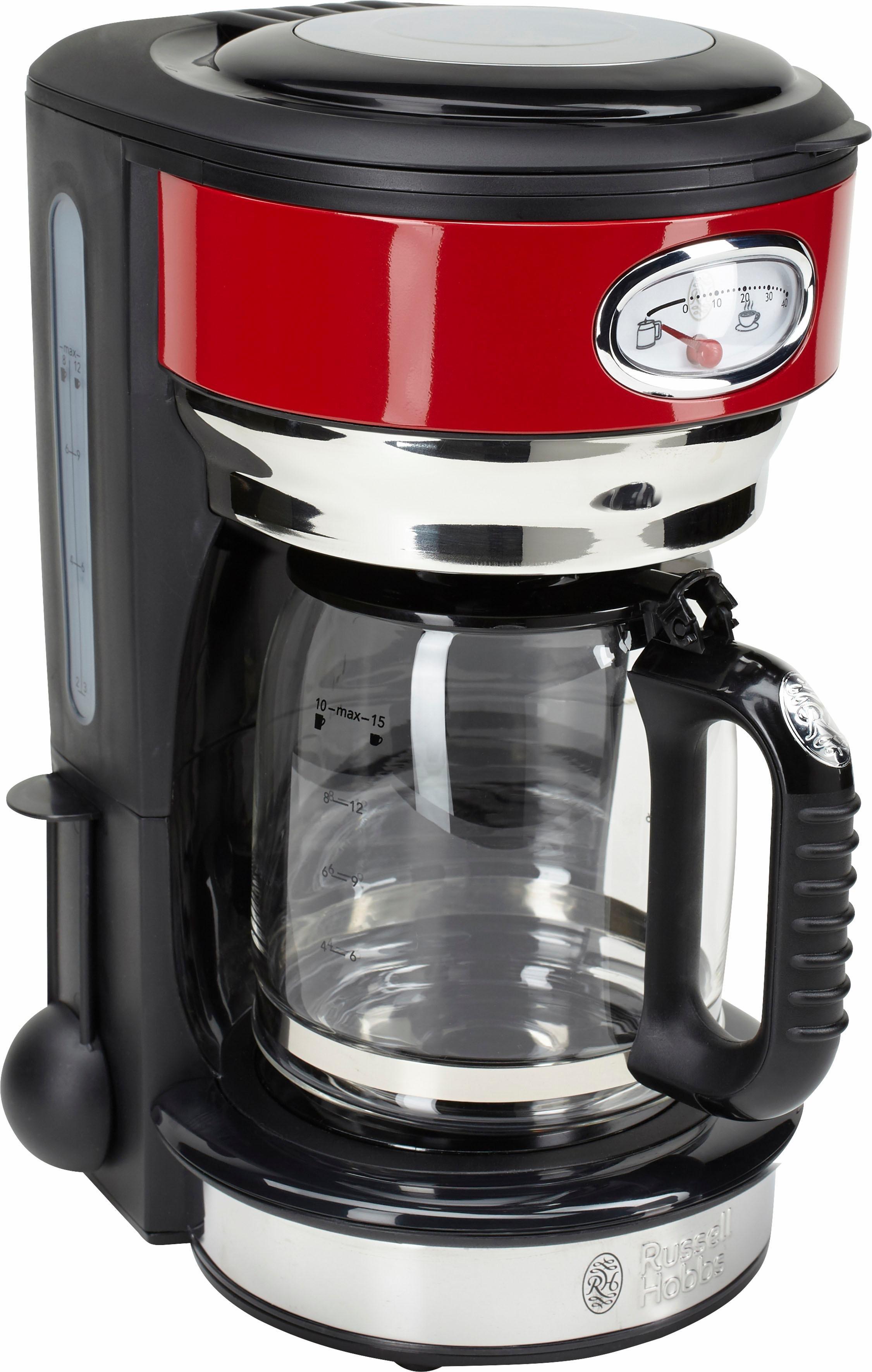 63f356c21759e5 Filterkaffeemaschine Retro Ribbon Red 21700-56, 1,25l Kaffeekanne,  Papierfilter 1x4. RUSSELL HOBBS ...