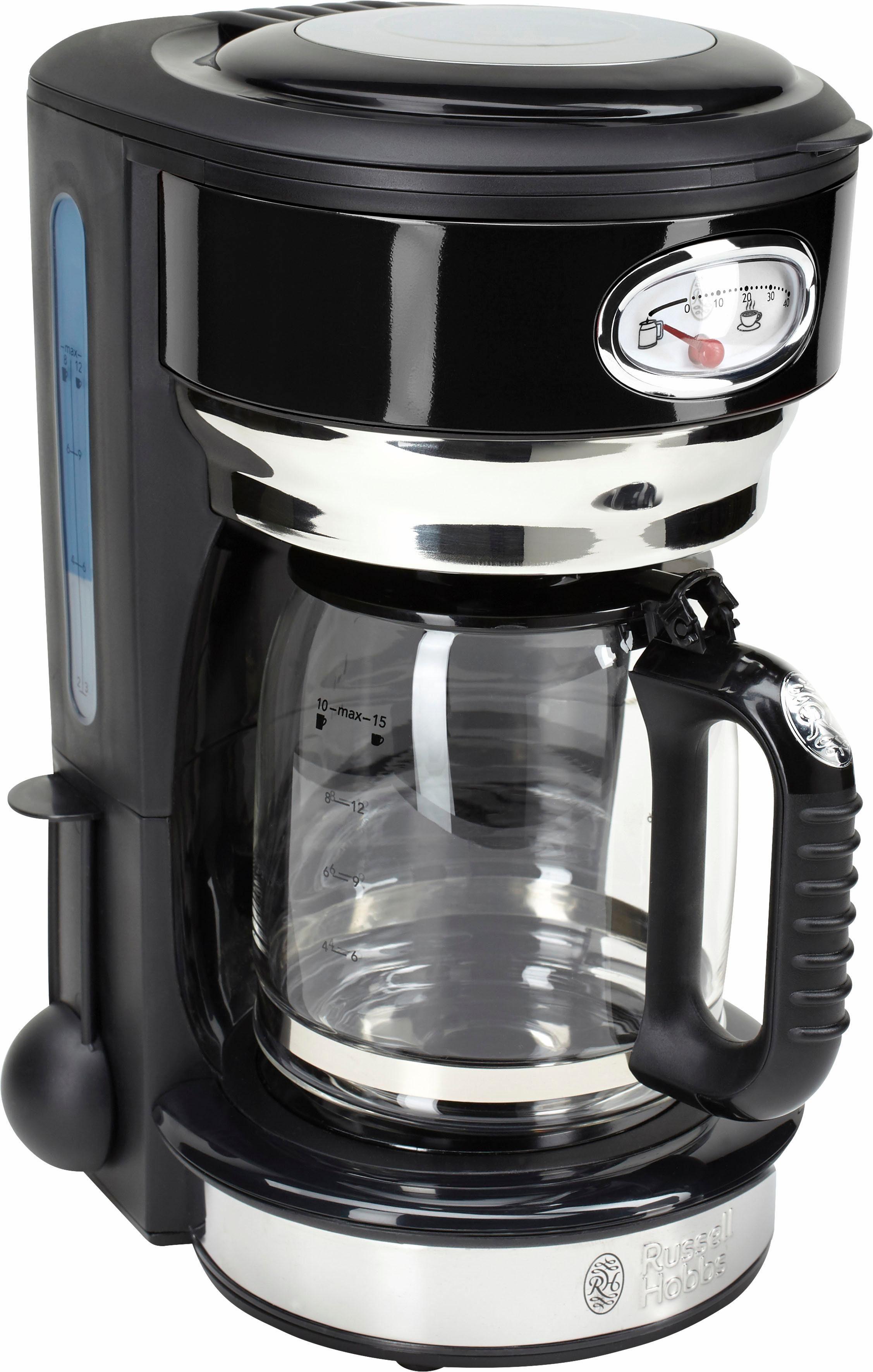 RUSSELL HOBBS Filterkaffeemaschine Retro 21701-56 Classic Noir, 1,25l Kaffeekanne, Papierfilter 1x4, mit Retro-Brühanzeige