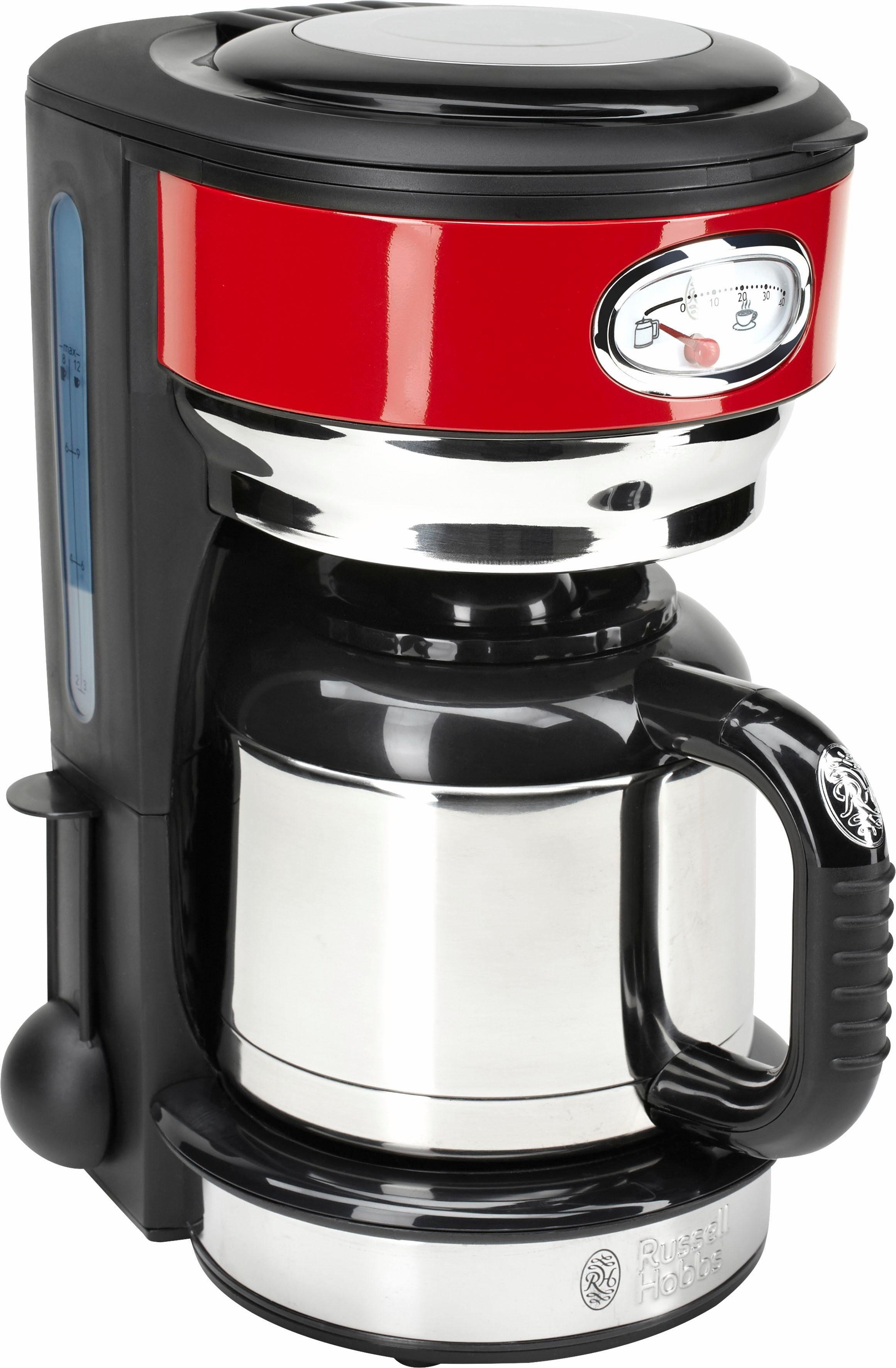 RUSSELL HOBBS Filterkaffeemaschine Retro 21710-56, 1l Kaffeekanne, Papierfilter 1x4, mit Retro-Brühanzeige