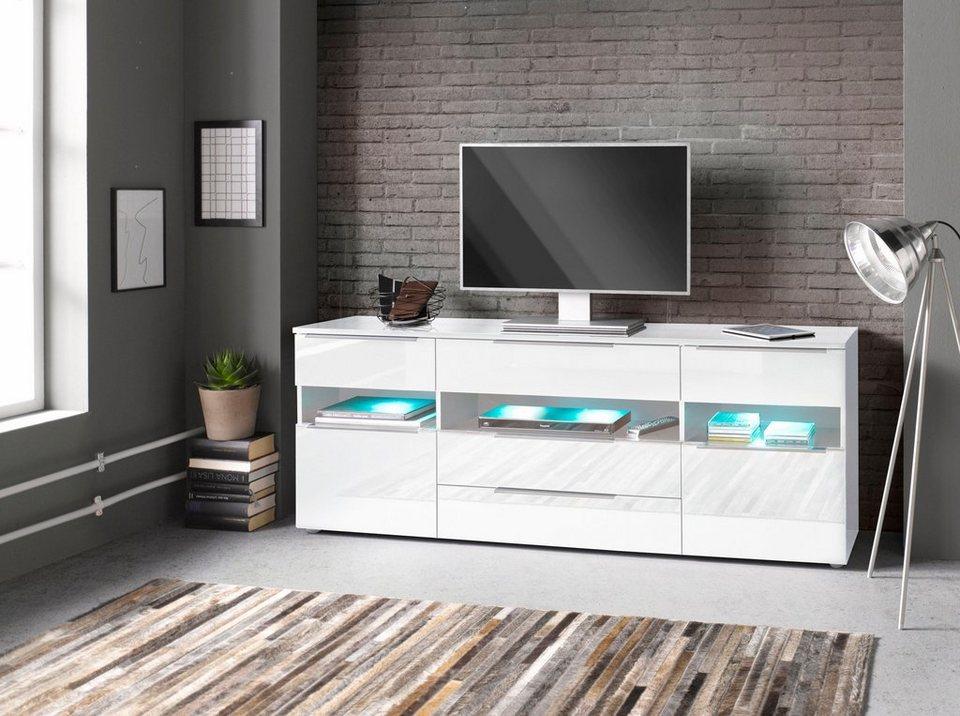 Sideboard, Breite 166 cm in weiß Hochglanz