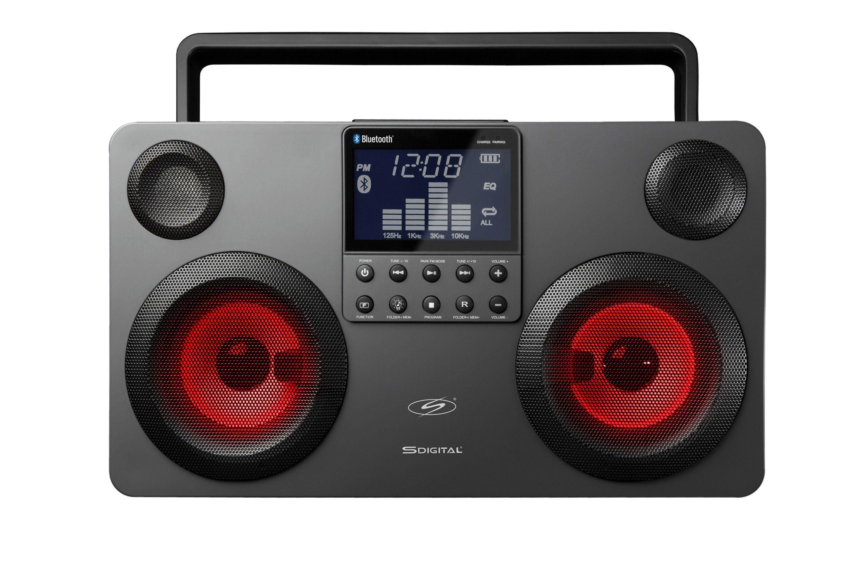 SDigital Bluetooth-Boombox mit Lichtshow (FM Radio, MP3-Wiedergabe) »Commando«