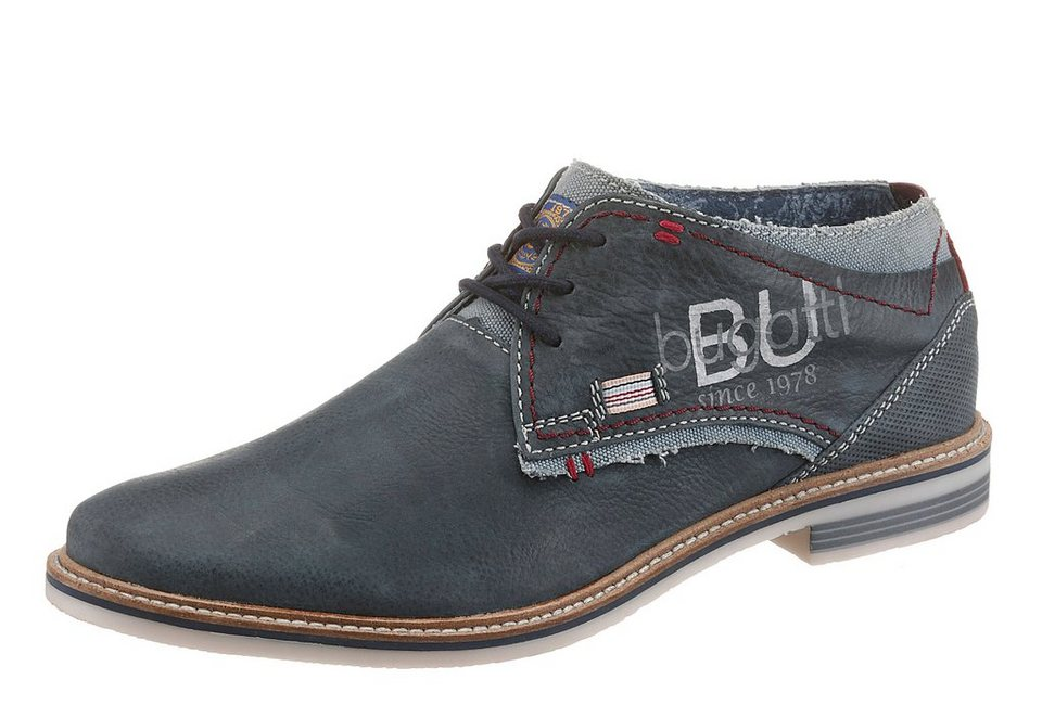 Bugatti Stiefelette im Materialmix in navy-used