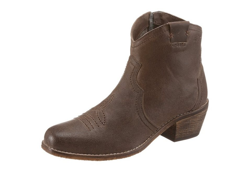 s.Oliver RED LABEL Westernstiefelette im Used-Look in taupe