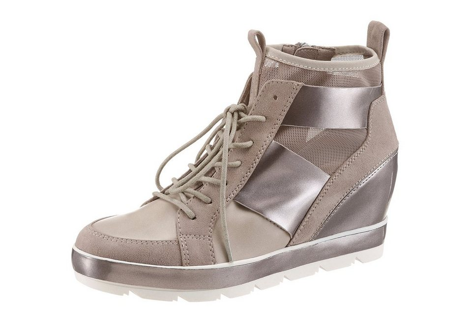 Tamaris Wedgesneaker mit schimmernden Highlights in taupe