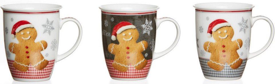 Flirt by R&B Kaffeebecher, Porzellan, 3er Set, »Weihnachtsbäckerei« in weiß/rot/braun