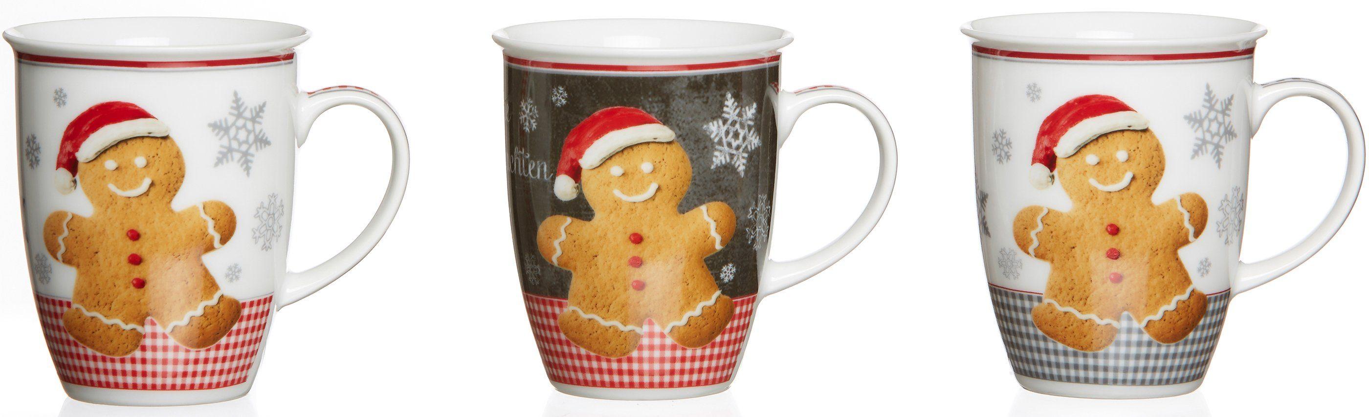 Flirt by R&B Kaffeebecher, Porzellan, 3er Set, »Weihnachtsbäckerei«