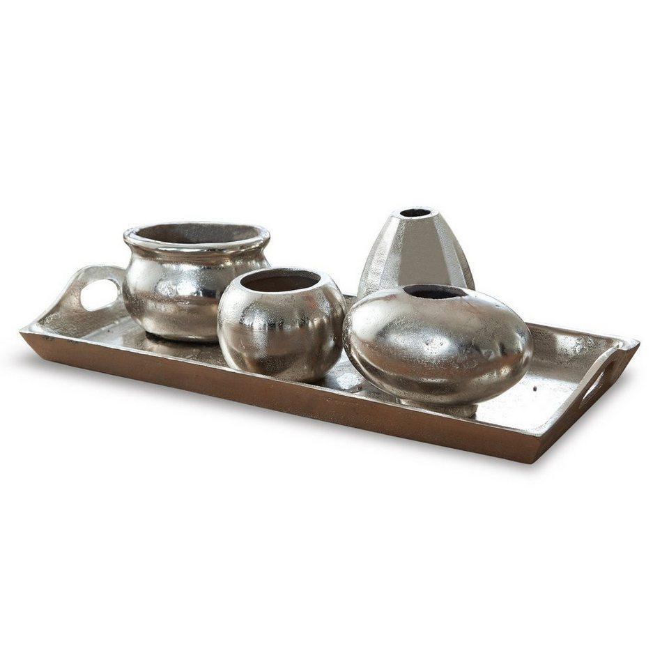 Loberon Tablett mit Vasen »Marcia« in silber
