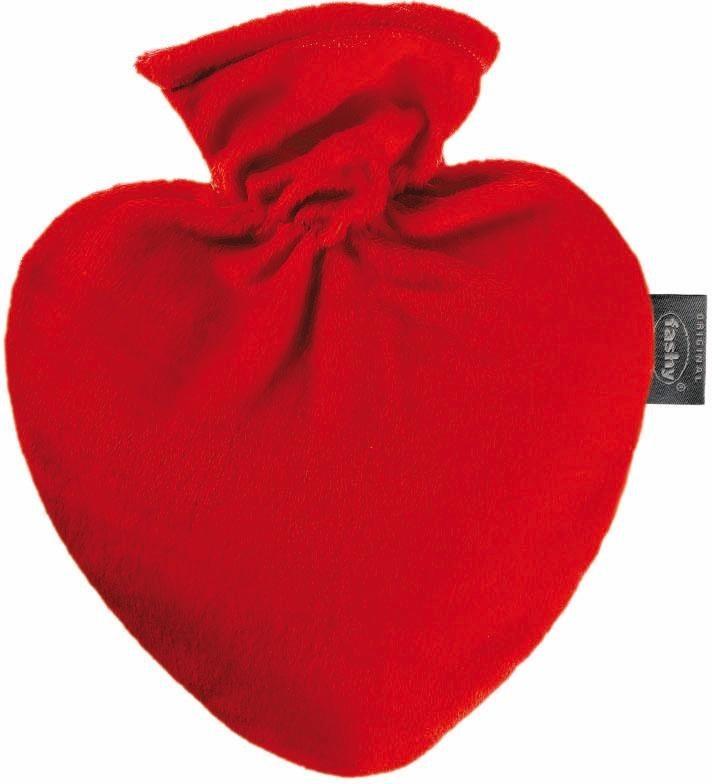 Fashy Herz-Wärmflasche 6510, mit Bezug in rot