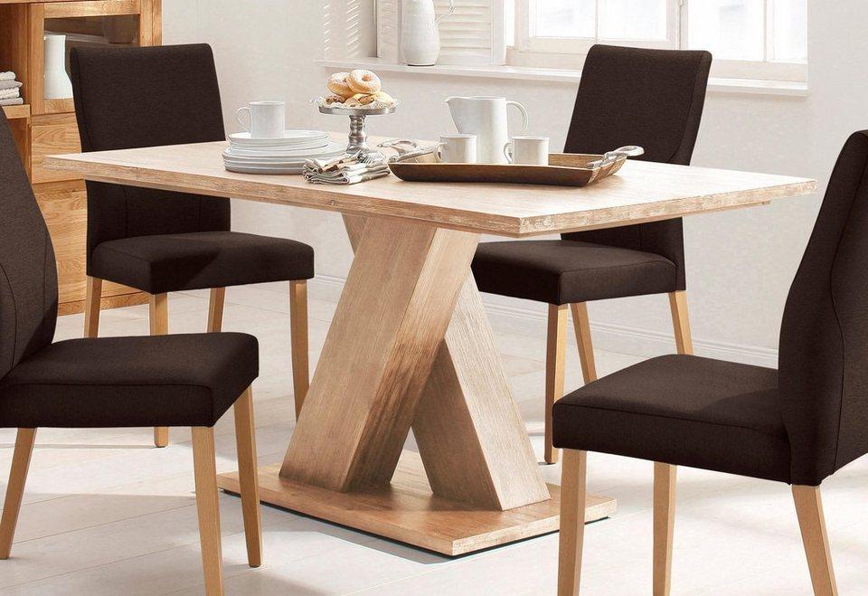Home affaire Esstisch »Milas«, aus massivem Akazienholz in zwei Breiten in creme