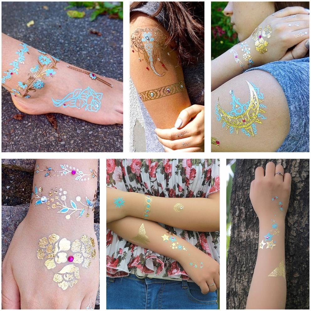Schmuck-Tattoos, »Diamond Flash« (6-tlg.), mit Steinchen