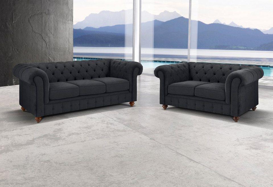 Premium Collection By Home Affaire Sitzgruppe Chesterfield 2 Tlg Bestehend Aus 2 Und 3 Sitzer Online Kaufen Otto