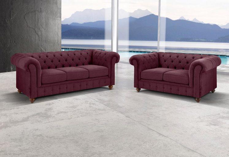 Premium collection by Home affaire Sitzgruppe »Chesterfield«, Bestehend aus 2- und 3-Sitzer
