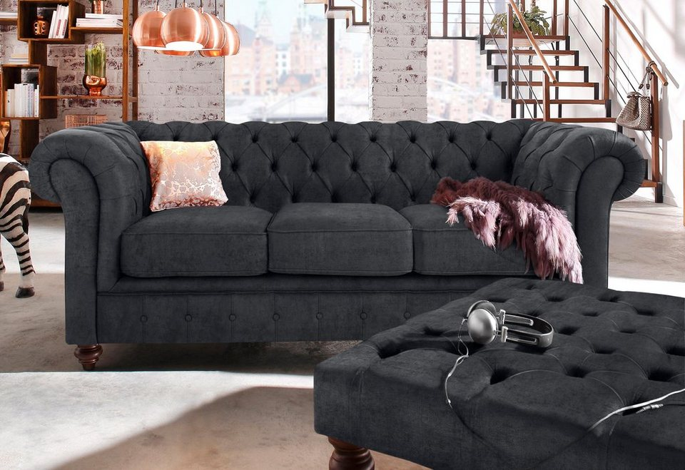premium collection by home affaire 3 sitzer chesterfield online kaufen otto. Black Bedroom Furniture Sets. Home Design Ideas