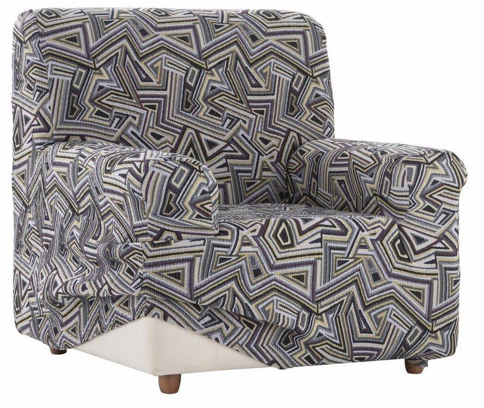 Sesselhusse, Zebra, »Babel«, mit grafischem Design in grau