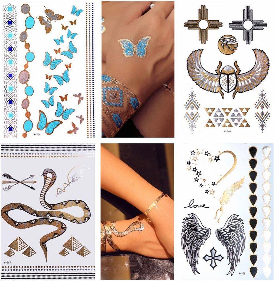 Schmuck-Tattoos, »Egypt«, Tattoos zum Aufkleben in gold-schwarz-türkis