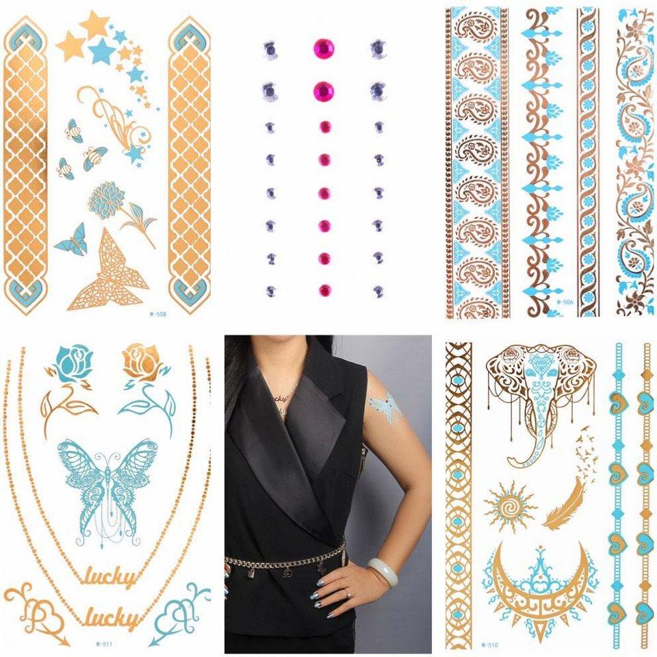 Schmuck-Tattoos, »Diamond Flash« (4-tlg.), mit Steinchen in gold-türkis