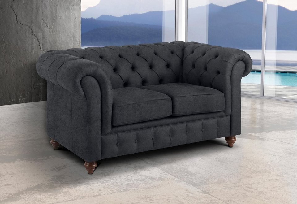 Premium collection by home affaire 2 sitzer chesterfield online kaufen otto - Chesterfield sofa grau ...