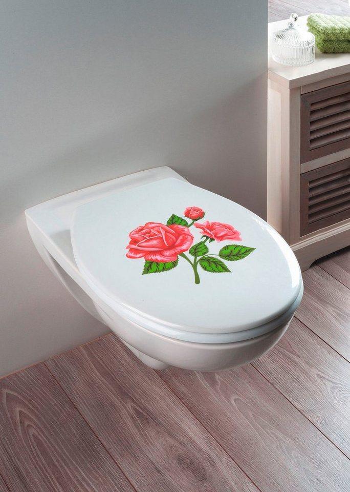 WC-Sitz »Rosen-Romantik« in silber glänzend/bunt