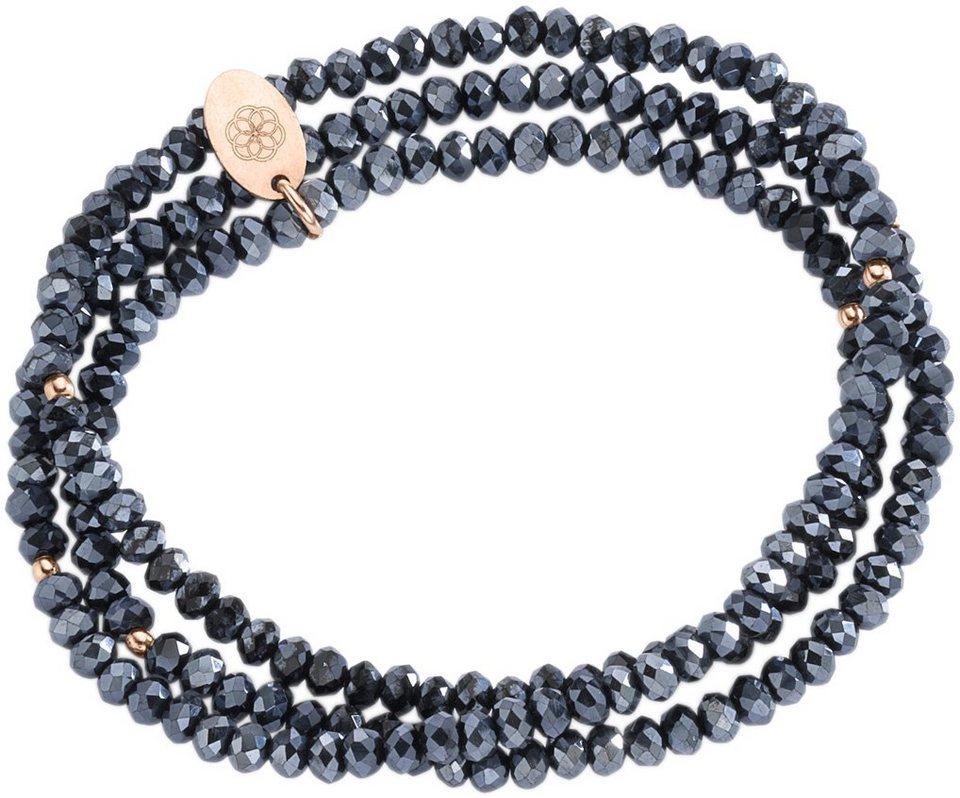 firetti Armband zum Wickeln mit Kristallsteinen in Silber 925-roségoldfarben vergoldet-dunkelblau