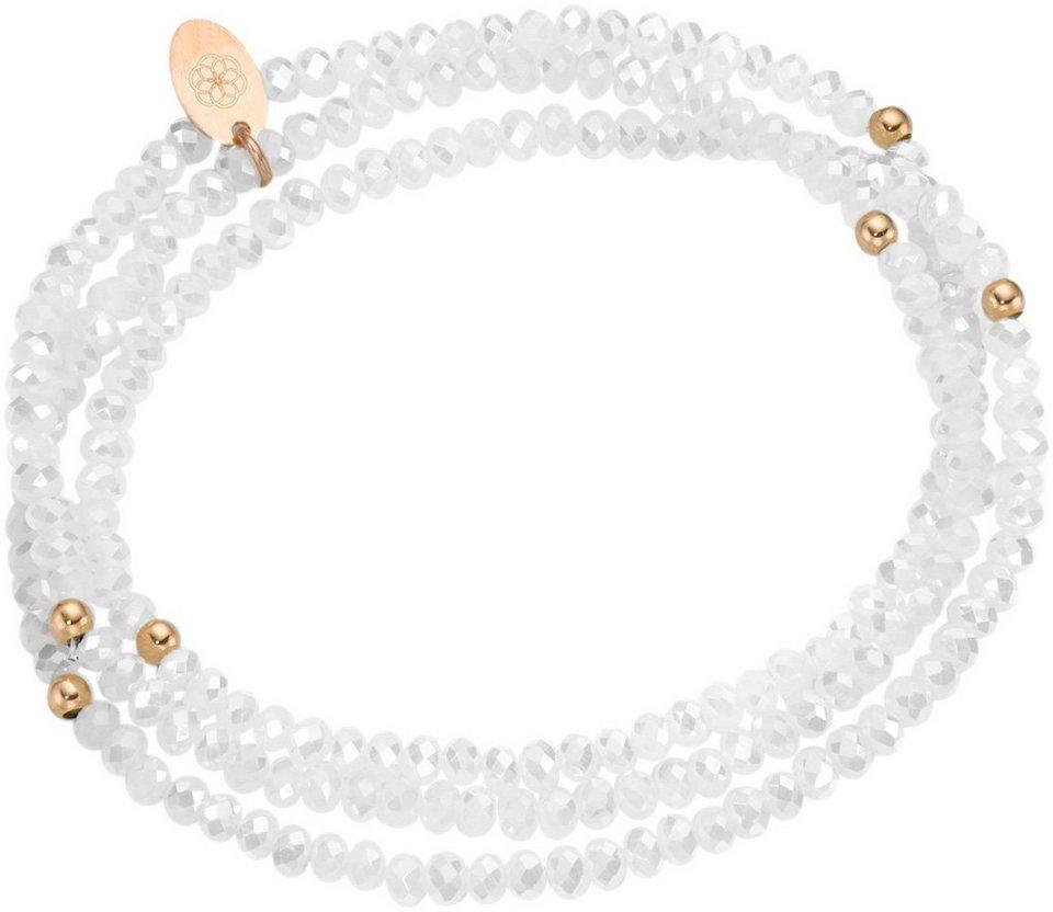 firetti Armband zum Wickeln mit Kristallsteinen in Silber 925-roségoldfarben vergoldet