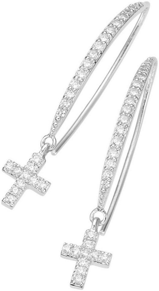 firetti Paar Ohrhaken mit Zirkonia, »Kreuz« in Silber 925