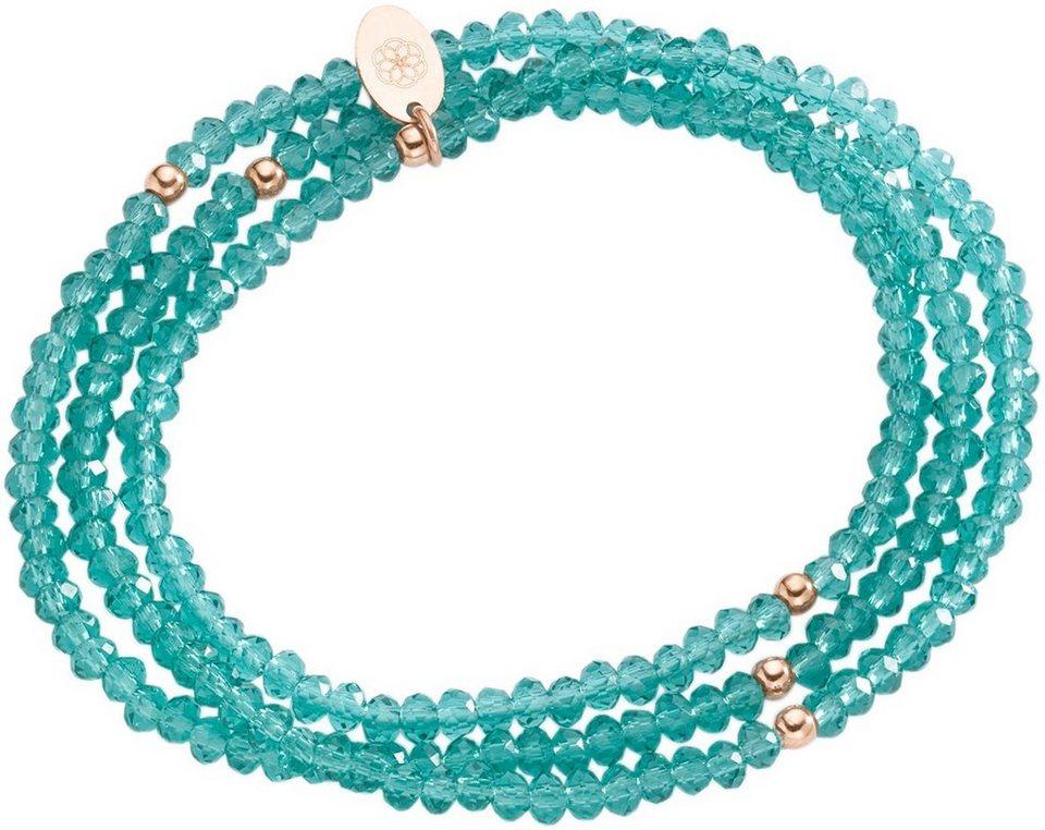 firetti Armband zum Wickeln mit Kristallsteinen in Silber 925-roségoldfarben vergoldet-grün