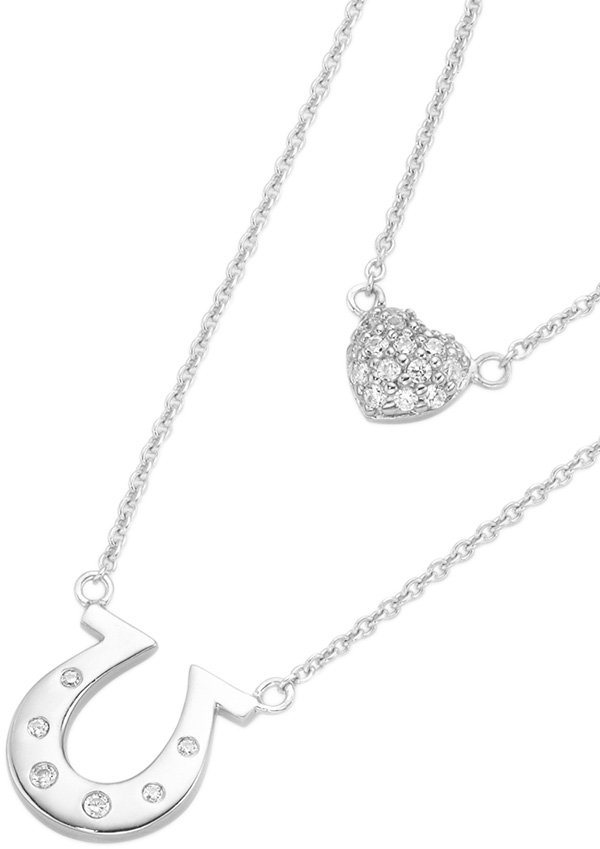 firetti Kette mit Anhänger mit Zirkonia, »Hufeisen und Herz« in Silber 925