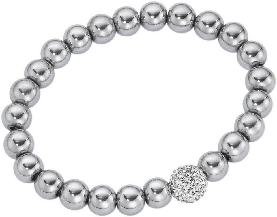 firetti Armband mit Kristallsteinen in Silberfarben