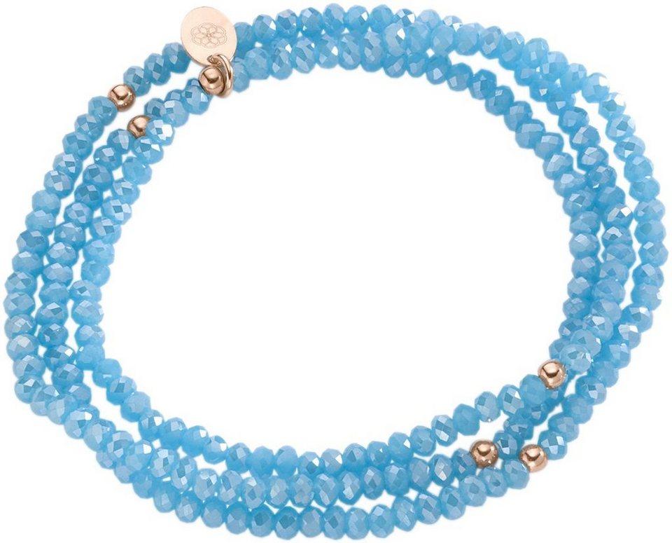 firetti Armband zum Wickeln mit Kristallsteinen in Silber 925-roségoldfarben vergoldet-blau
