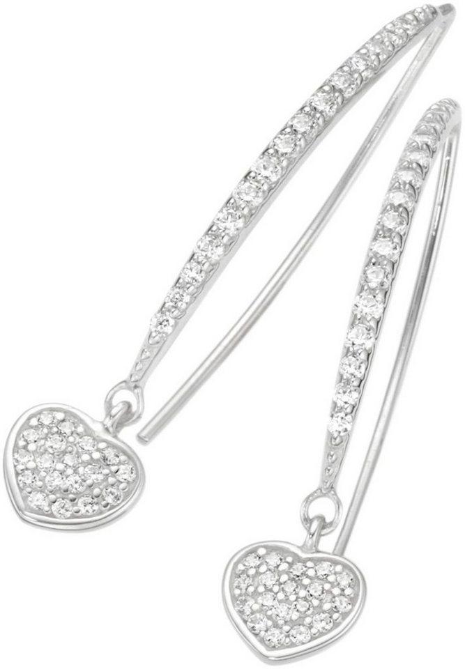 firetti Paar Ohrhaken mit Zirkonia, »Herz« in Silber 925