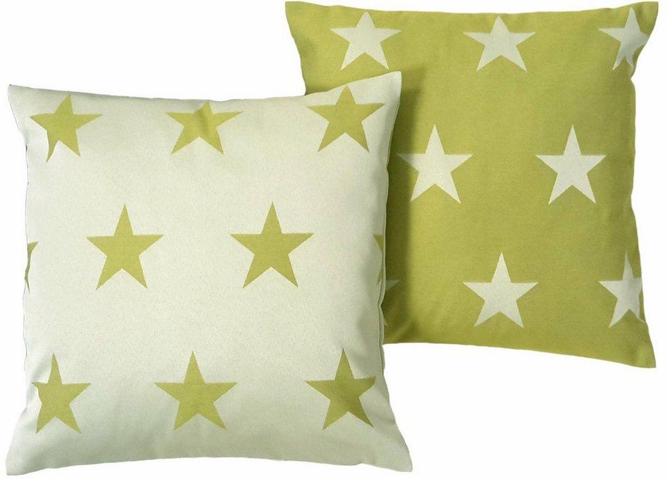 Kissenhüllen, Wirth, »FELINO« Sterne (2 Stück) in grün