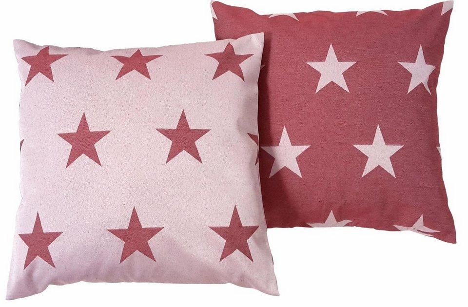 Kissenhüllen, Wirth, »FELINO« Sterne (2 Stück) in rot
