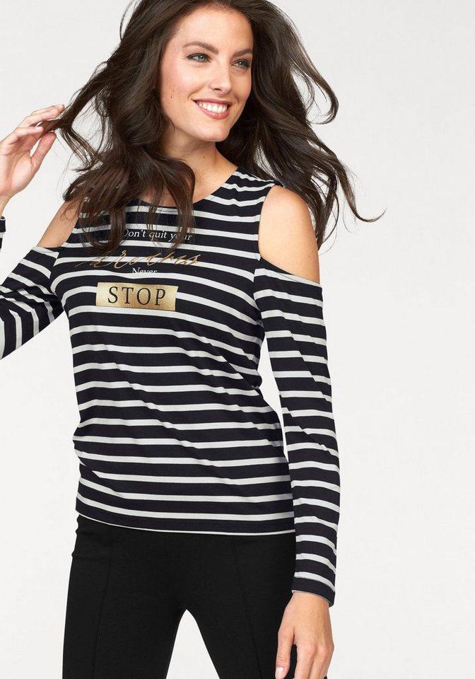 Tamaris Langarmshirt mit Cut-out-Ärmeln in schwarz-weiß