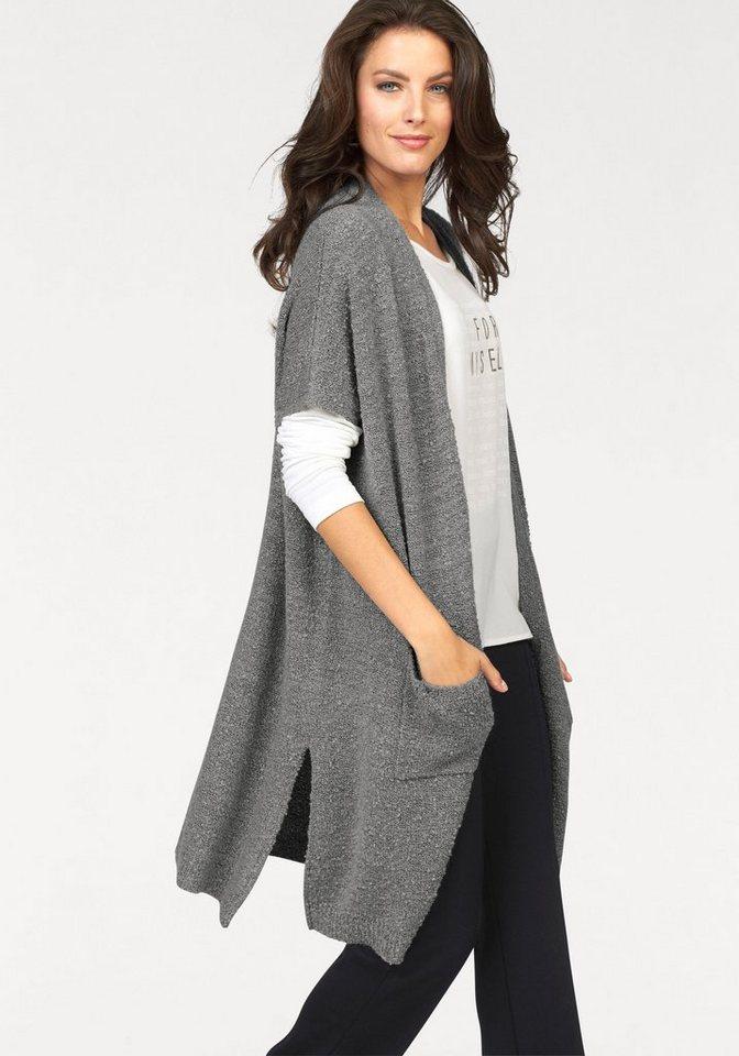 Tamaris Strickjacke mit 2 großen Taschen in grau-meliert