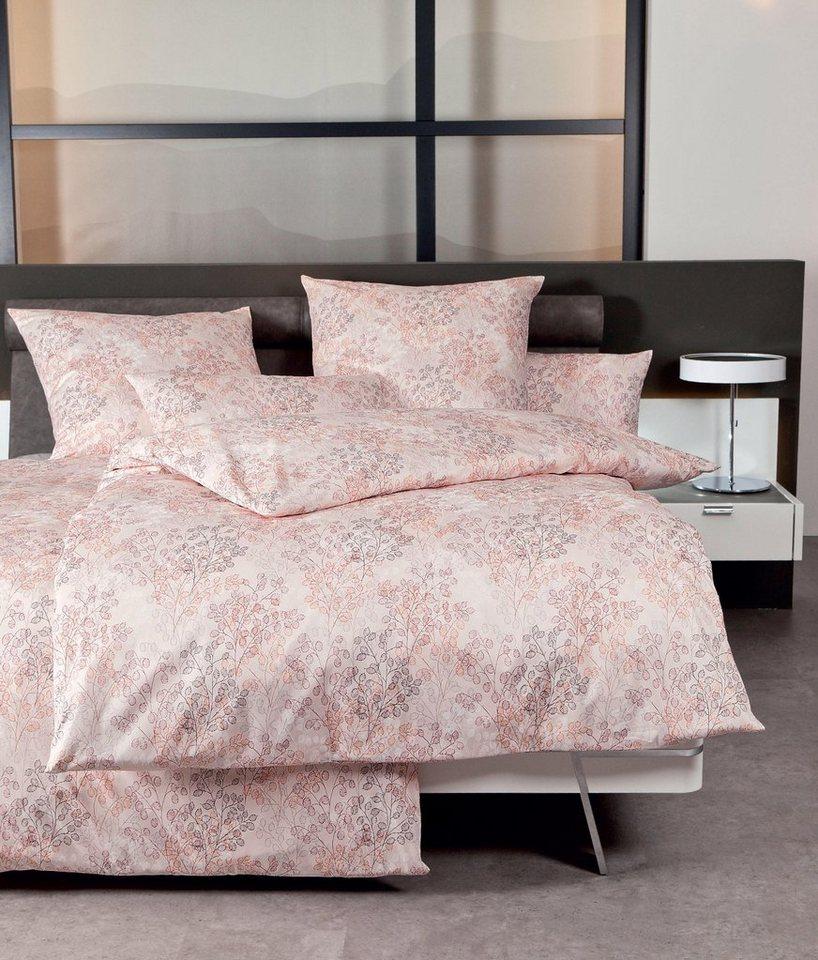 Bettwäsche, Janine, »Flowers«, mit leichten Blüten in rosa