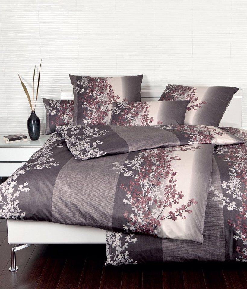 Bettwäsche, Janine, »meliert Stripe«, mit Blütenranke in braun