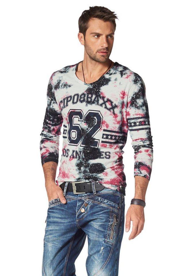 Cipo & Baxx Langarmshirt in weiß-pink-schwarz