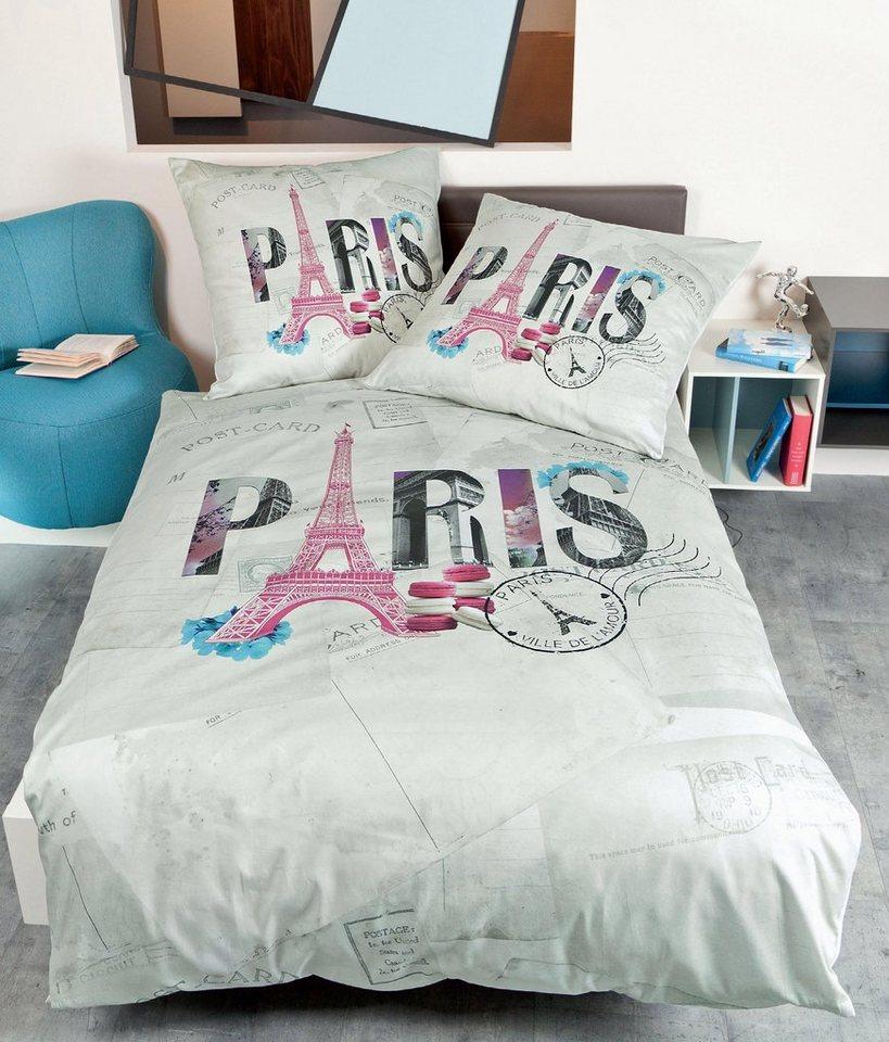 Bettwäsche, Janine, »Paris«, in Vintage-Optik in rosa-grau