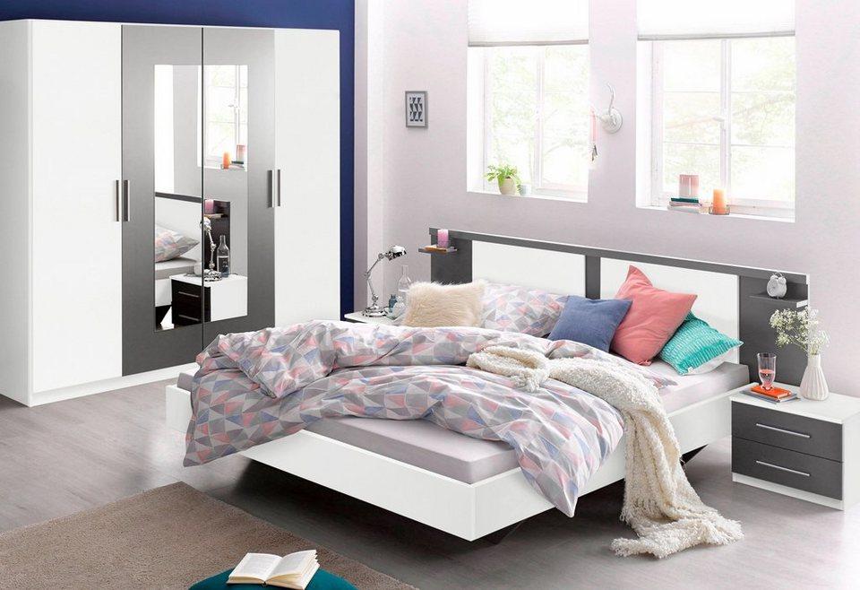 rauch Schlafzimmer-Set (4-tlg.) in weiß/graumetallic