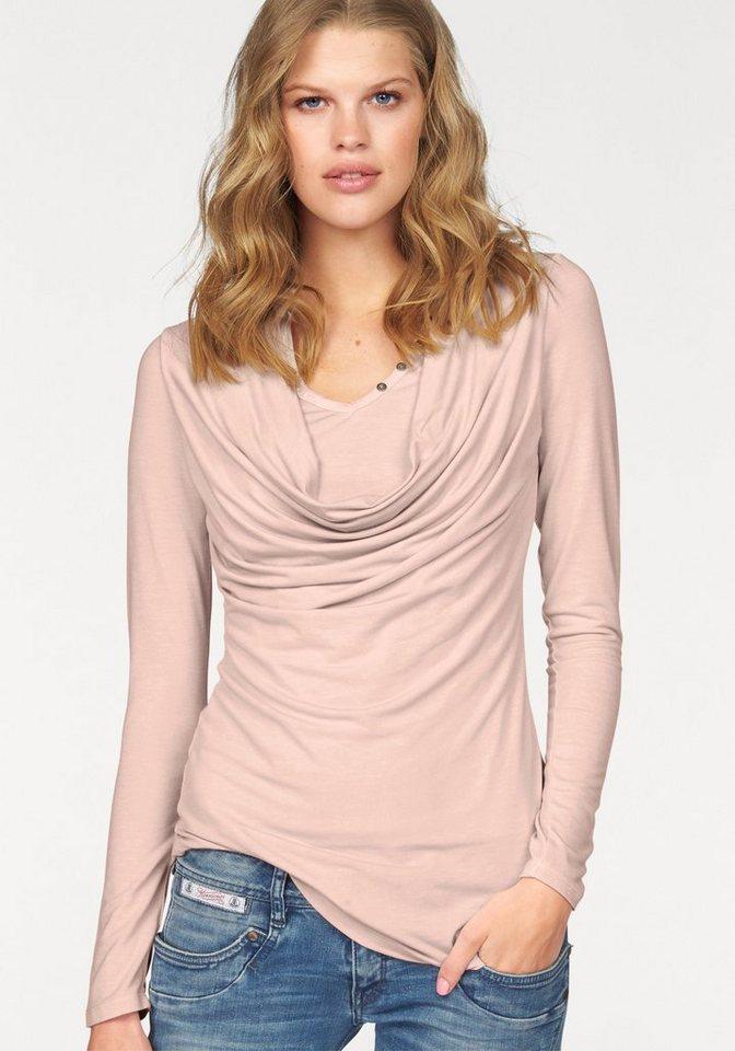 khujo Langarmshirt »Quera« im Lagenlook in rosé