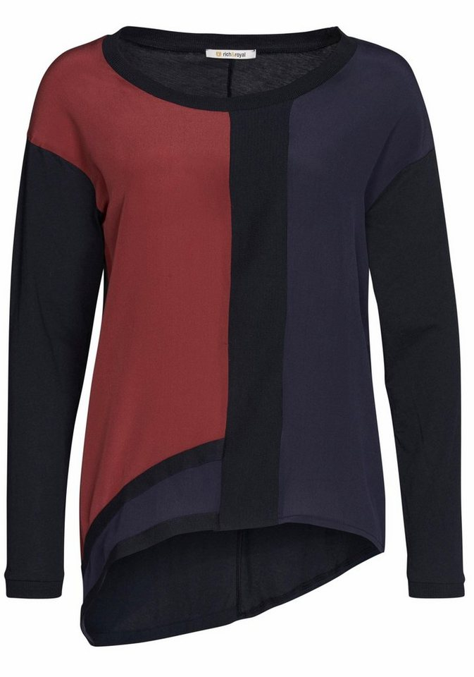 Rich & Royal Langarmshirt Colour-Blocking in asymmetrischer Form in rotbraun-schwarz