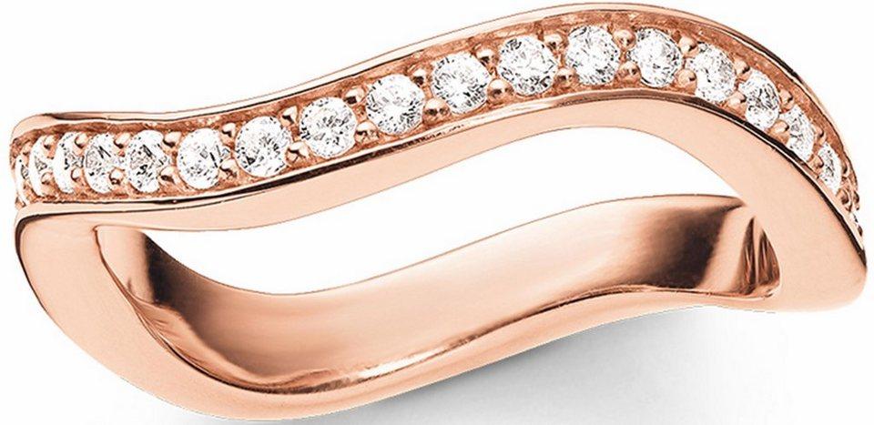 Thomas Sabo Silberring »Ring, TR2010-416-14-50, 54, 58, 60« mit Zirkonia in roségoldfarben