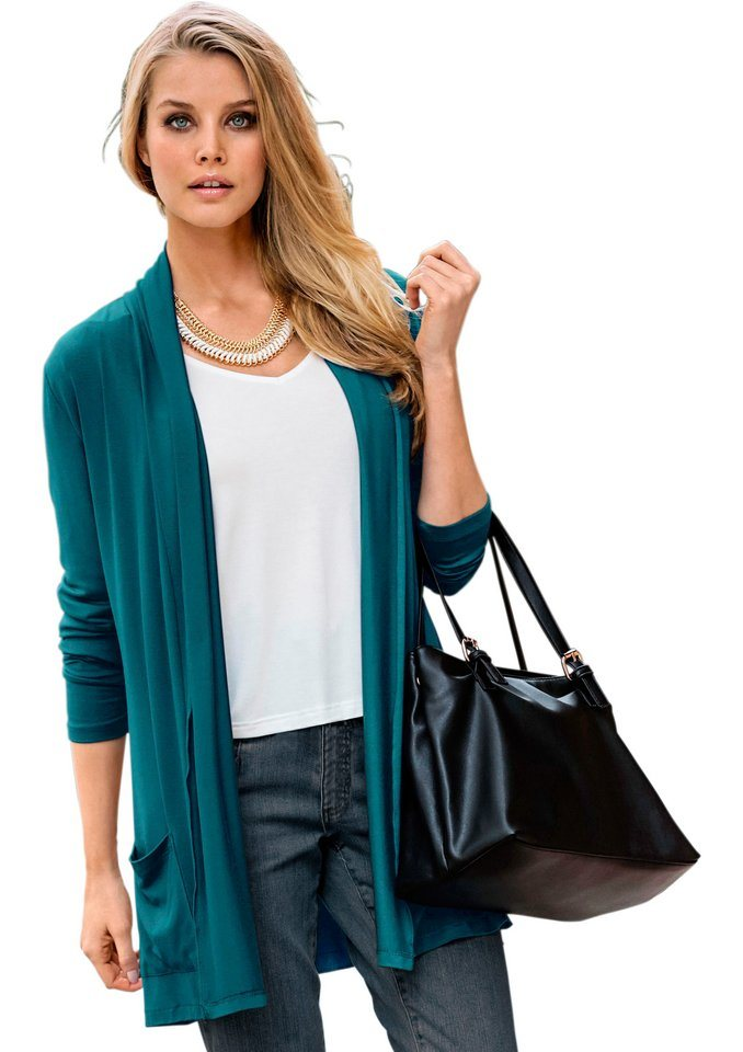 Classic Inspirationen Shirtjacke in angesagter offener Form in petrol