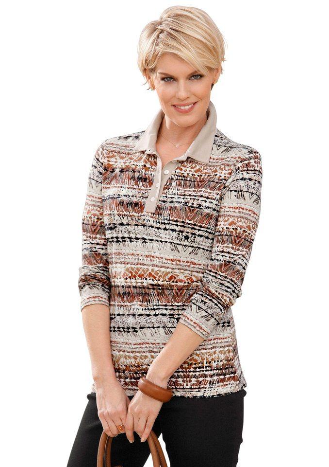 Damen Collection L. Poloshirt im schönen Druckmuster braun | 08698123254640